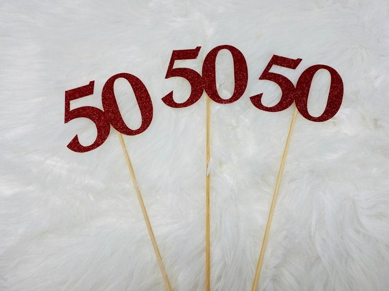50th Birthday Centerpiece Sticks Glitter 50th Birthday Decoration 50th Birthday Table Decorations Age Cutouts