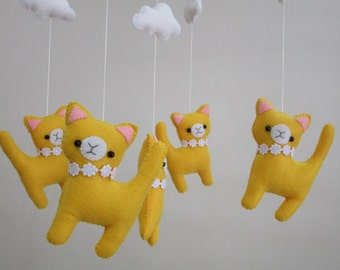 Free Shipping! Ready to Ship!Cat Baby Mobile, Baby Cat crib mobile, Baby felt mobile, Baby nursery mobile,, Baby cat mobile