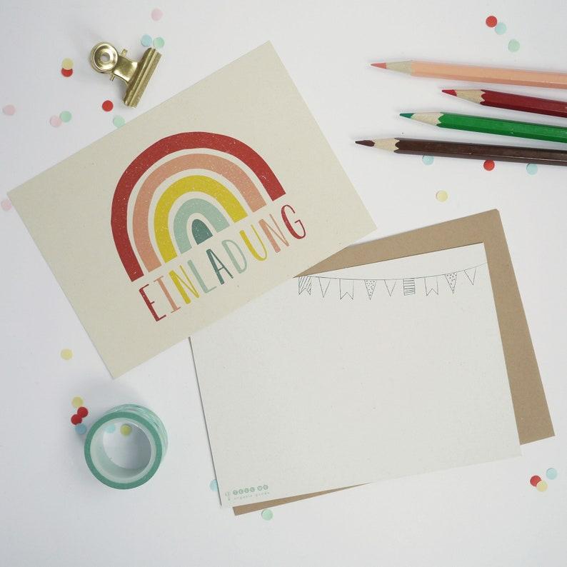 einladungskarten regenbogen 6 karten 6 umschläge | etsy