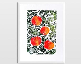Original linocut print Apples art Botanical kitchen wall decor Linogravure