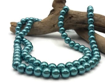 100 beads in turquoise blue 8 mm glass - glass bead - beads - 8 mm beads - Pearl Blue Bead turquoise jewelry - A165