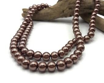100 glass beads 8 mm - A164 bronze