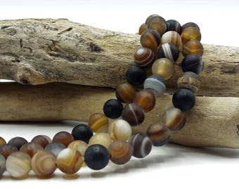 62 natural agate frosted - 6 mm - Brown natural stone - semi precious stone - Pierre of gemstone - A263
