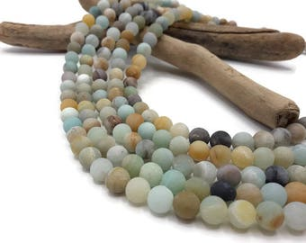 20 beads natural frosted - 8 mm - stone natural Amazonite - A193