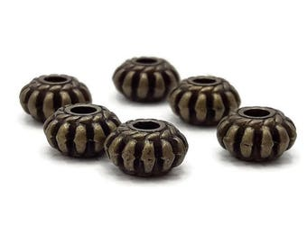 100 beads Tibetan 8 mm - hole seed beads 2 mm - spacer beads - rondelle bead - antique bronze - A102-1