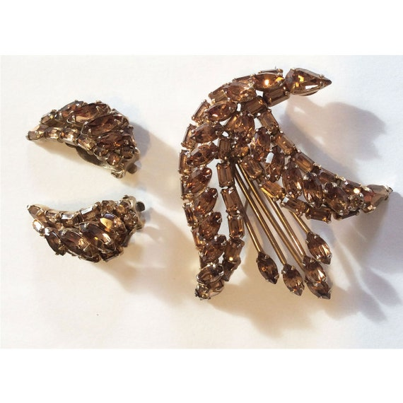 Rare Signed Sherman Brooch and Clip Earrings