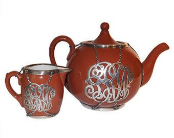 Antique Villeroy & Boch Teapot with Sterling Silver Overlay