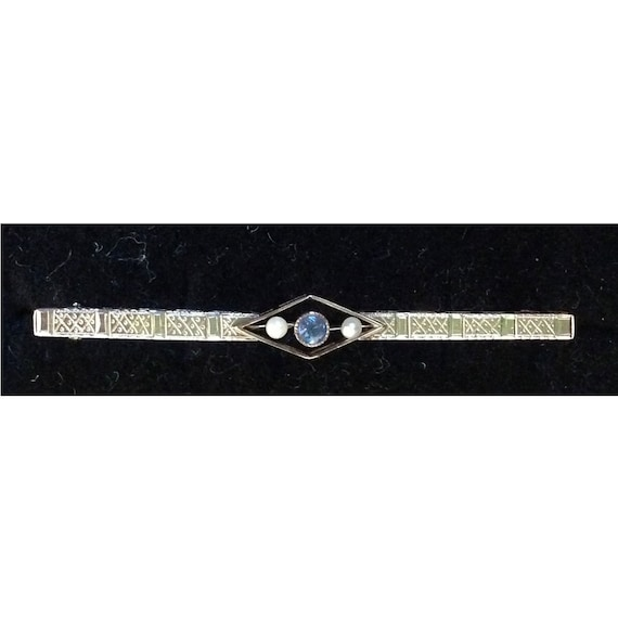 Edwardian Aqua Blue Topaz Seed Pearl Bar Brooch. 14K Gold Blue Topaz Brooch