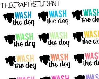 Wash The Dog Planner Stickers, Functional Stickers, Pet Stickers, Cleaning Stickers, Animal Stickers