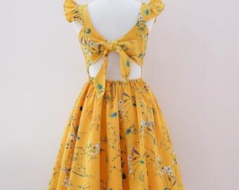 cd0dd267320 SALE Mustard dress Mustard yellow floral dress vintage tea dress party dress  bridesmaid dress spring summer sundress Small size