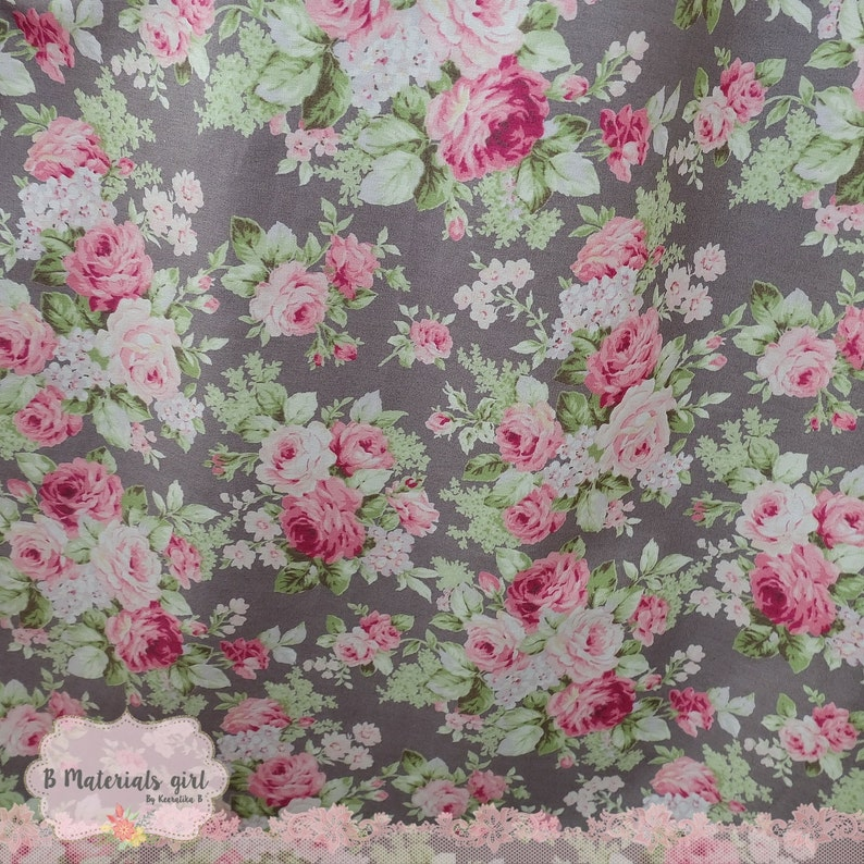 Gray Floral Cotton Fabric Pink Gray Green Floral Fabric Sewing Fabric Floral Summer Fabric 100/% Cotton Fabric For Craft