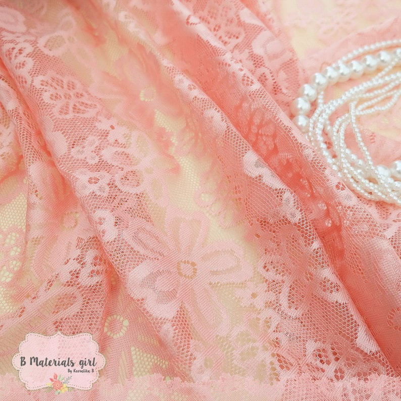Peach Lace Fabric Peach Lace For Handmade Floral Lace Wedding Peach Lace Bridesmaid Lace Peach Lace For Making Clothes Craft