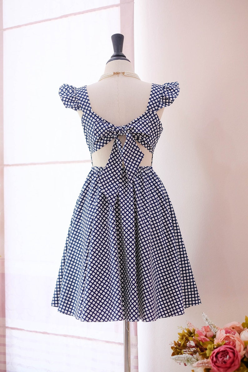 9c9fb8484925 SALE Navy check bridesmaid dress checkered dress black party
