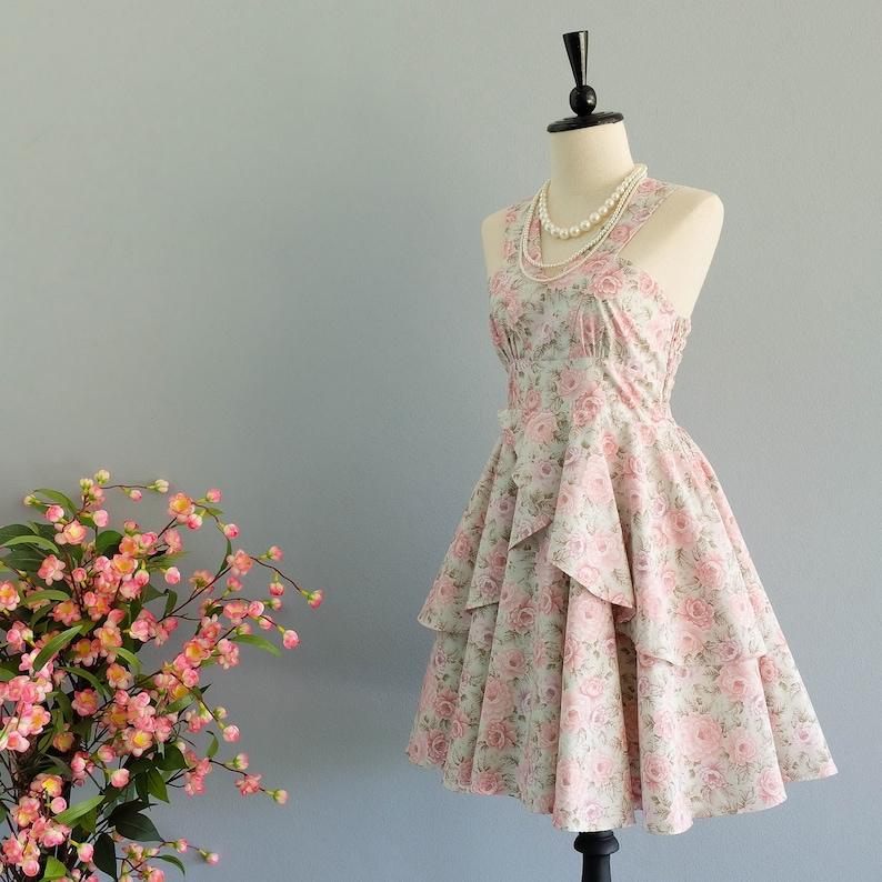 41f2c58536c8 SALE Floral dress Blue dress floral bridesmaid dress Vintage