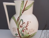 Victorian Aesthetic Movement 11 inch ceramic water pitcher Botanicals, dragonfly transfer pattern gorgeous, big