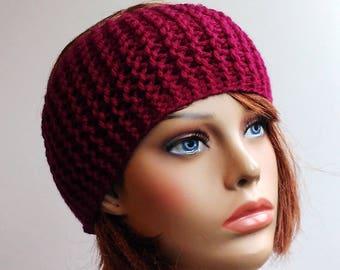 Knitted headband, Ear warmer, Burgundy Headbands, ear warmer headband, Winter Headband, Womens headband, original gifts, girlfriend gift