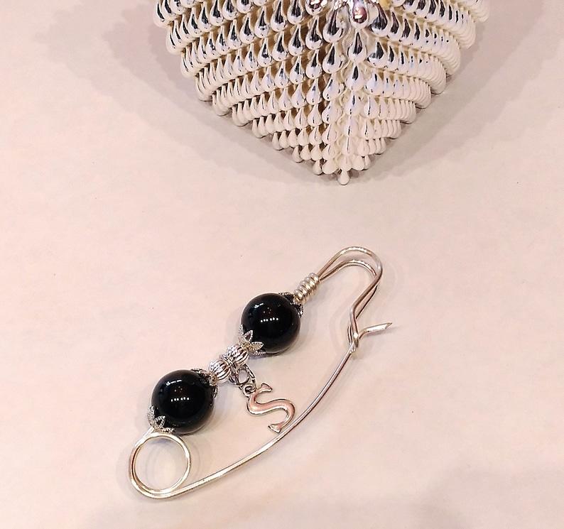 dangle brooch letter S black Scarf pin Shawl pin Custom brooch initial brooch Letter brooch Personalized pin sweater pin
