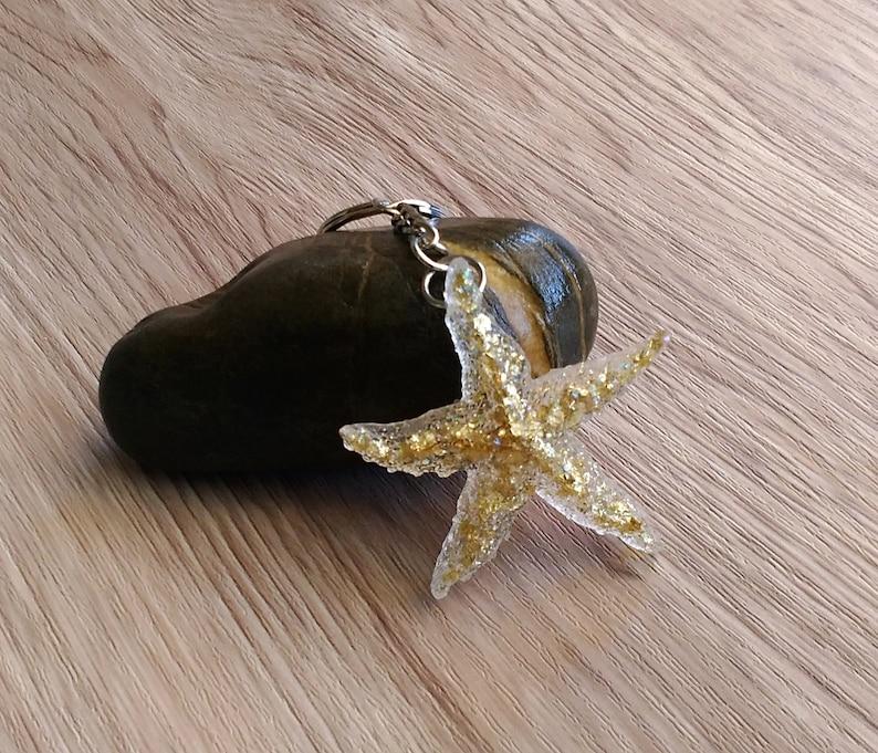gift for her birthday gift idea resin jewelry Starfish keychain handmade gifts Starfish key ring resin keychain summer gift