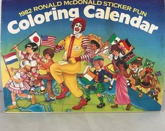 Vintage 1982 Ronald McDonald Sticker Fun Coloring Calendar