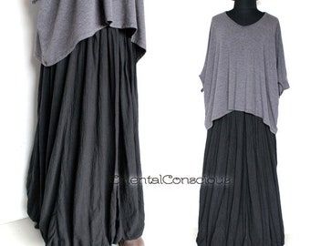 2Sets Bi-color Layered Dress Cocoa Cotton100/% Natural  Peasant Asian Boho