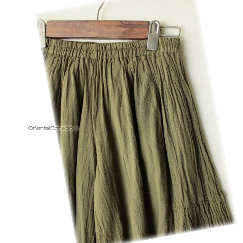Wrinkle Cotton Wide Frea Pants Khaki Cotton100/% Boho Peasant Asian Natural