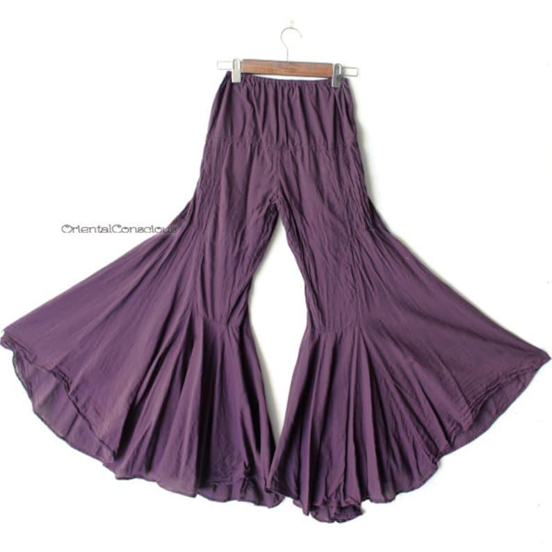 Fluffy Drape Bohemian Flare Pants Puple Cotton100/% Hippie Hippy Peasant Natural Boho