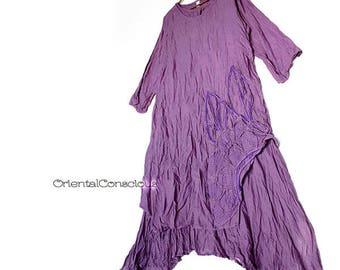 2Color】Wrinkled Gauze Cotton Flower Motif Layered A-line Dress Deep Purple Peasant Natural Boho
