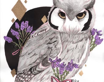 Lavender Owl Inktober - Limited Supply