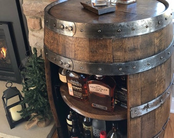 1cef16a737 Whiskey Barrel Liquor Cabinet ~ Handcrafted From A Reclaimed Whiskey Barrel