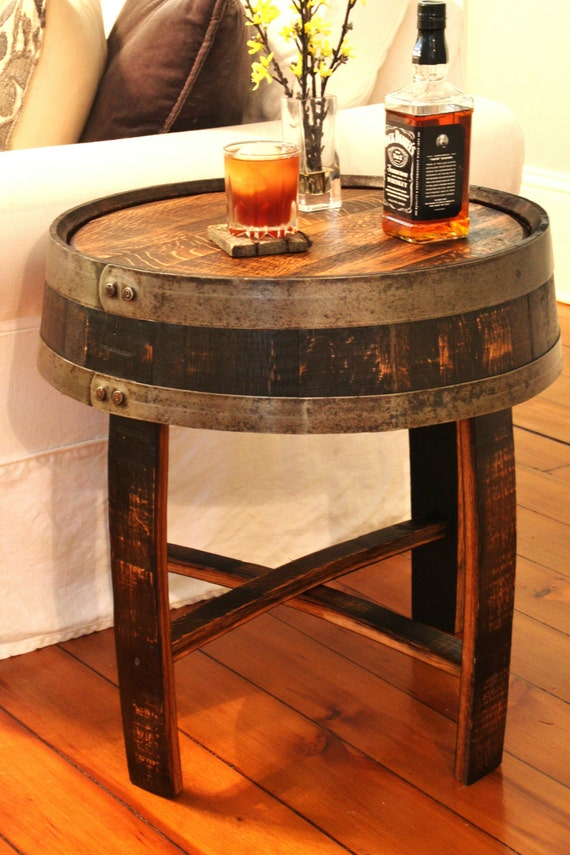 Authentic Used Oak Half Barrel Planter And//Or End Table