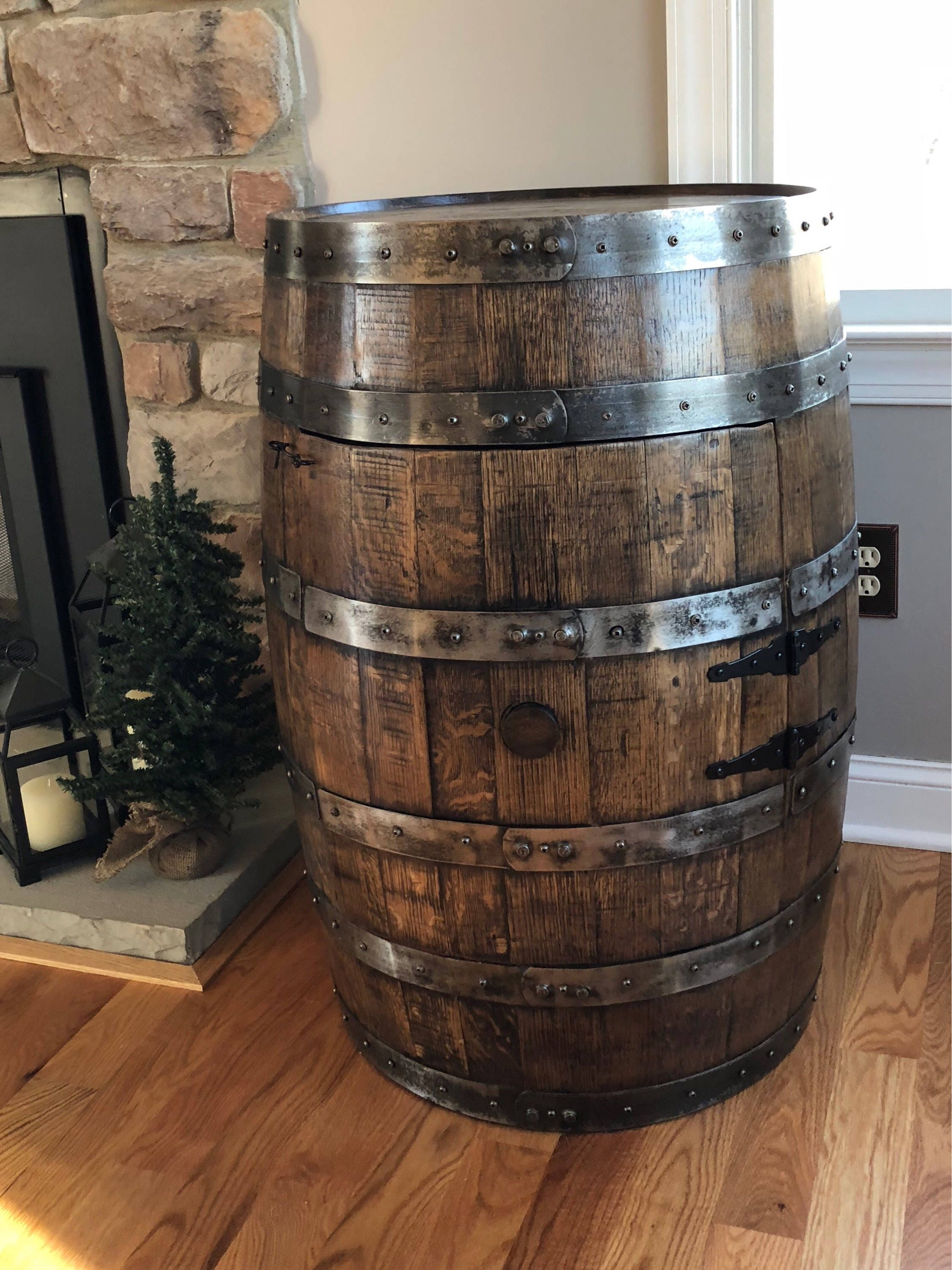 Whiskey Barrel Liquor Cabinet Handcrafted From A