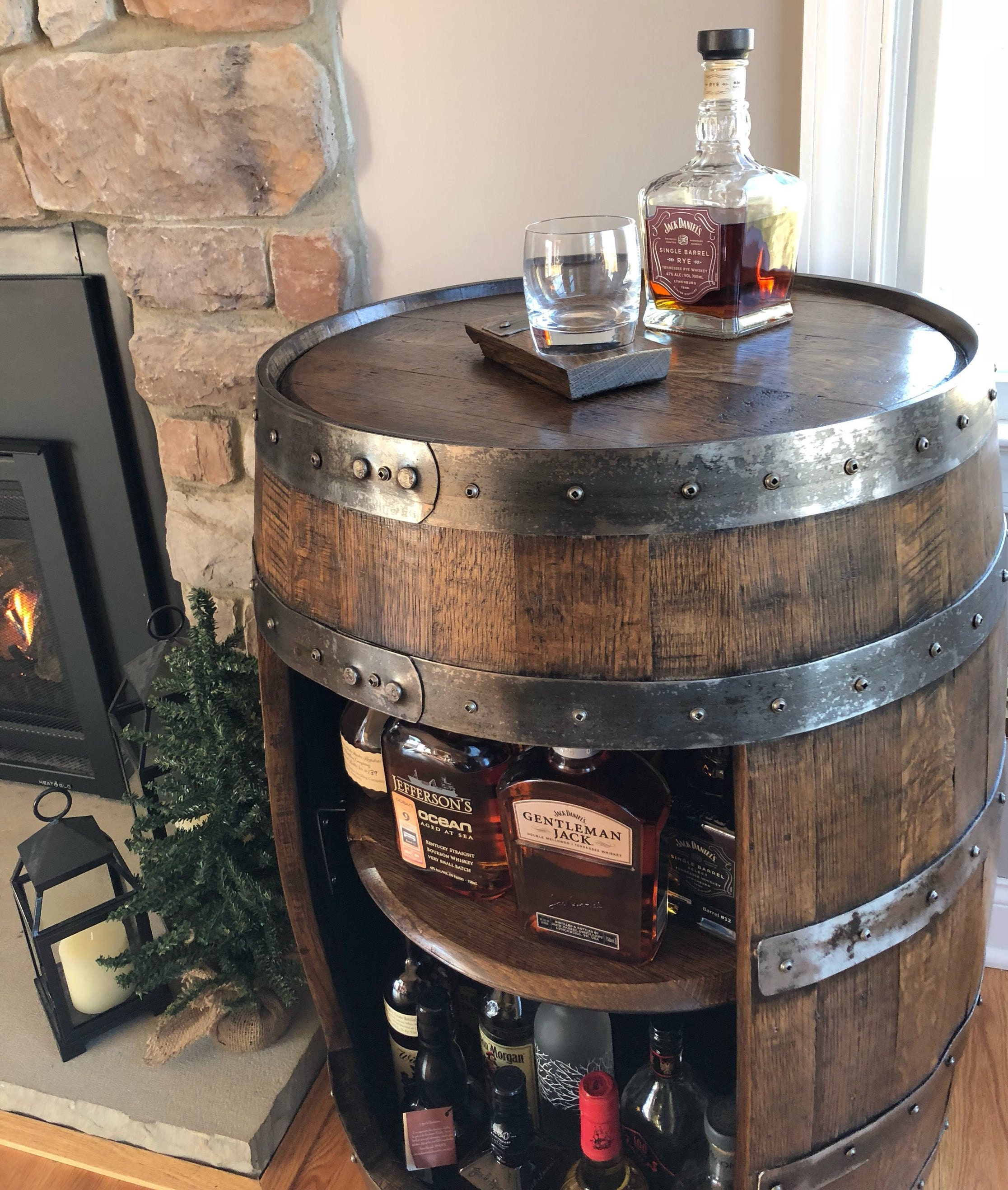 Charmant Whiskey Barrel Liquor Cabinet ~ Handcrafted From A Reclaimed Whiskey Barrel