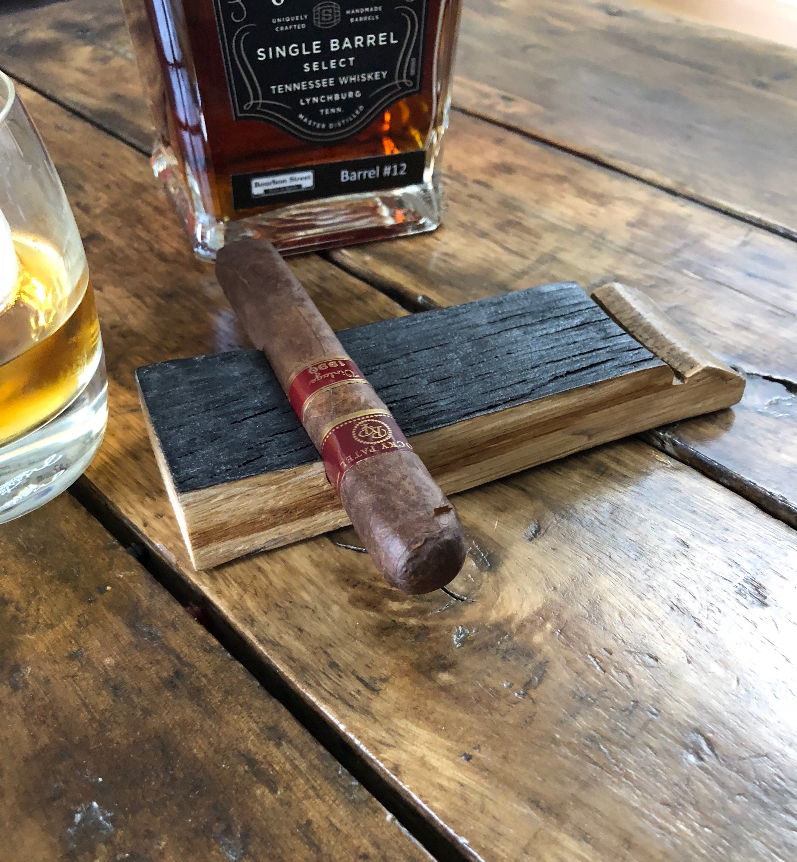 Cigar Rest Made From A Whiskey Barrel Stave