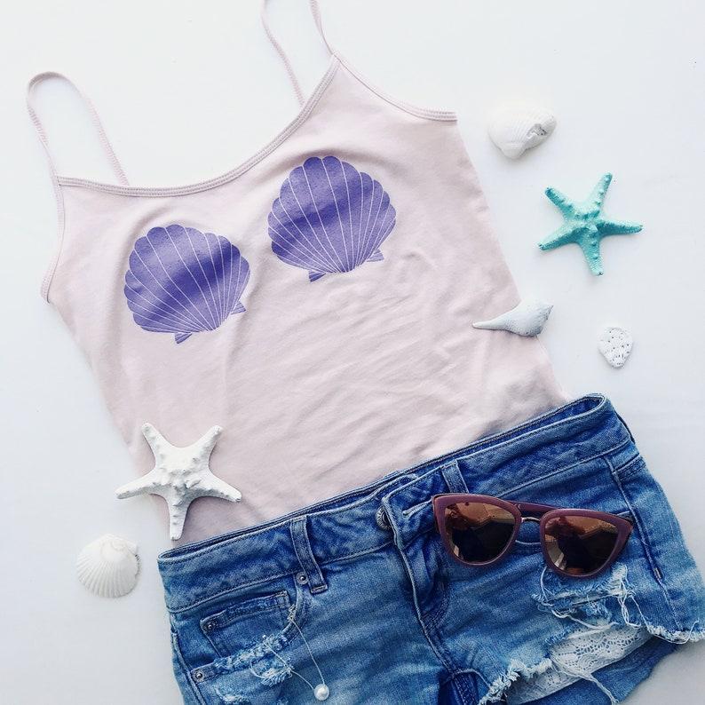 d2ff36252f397 Peach Ariel tumblr mermaid seashell bra tank top