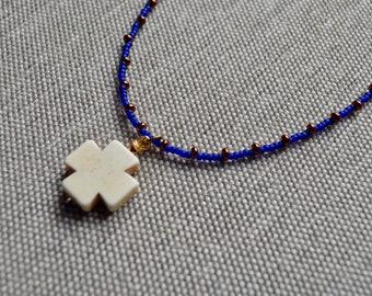 Aimee Tribe Seed Bead Cross Necklace