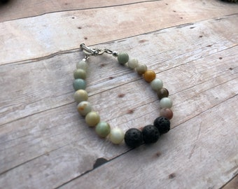 Amazonite Essential Oil Diffuser Bracelet Lava Bead Gemstone Bracelet Doterra Bracelet Diffuser Bracelet Aromatherapy bracelet