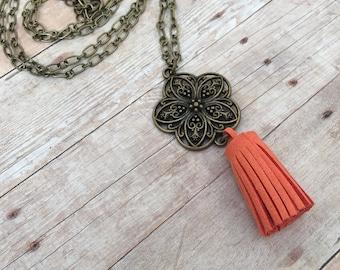 Burnt Orange Bronze Filigree Flower Suede Tassel Diffuser Necklace Essential Oil Aromatherapy