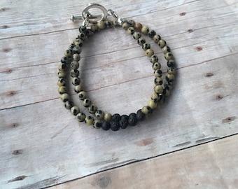 Spotted Jasper Double Wrap Essential Oil Diffuser Bracelet Lava Bead Gemstone Bracelet  Diffuser Bracelet Aromatherapy bracelet