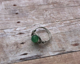 Aventurine Gemstone Silver Wire Ring Custom Size Spirituality and Healing Stone of Wisdom Essential Oil Aromatherapy