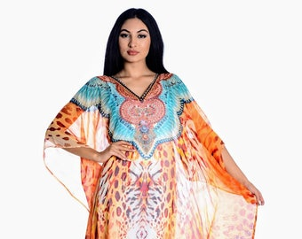 kaftan, maxi kaftan dress, plus size sheer dress beach kaftan digital printed dress in teal/saffron loungewear