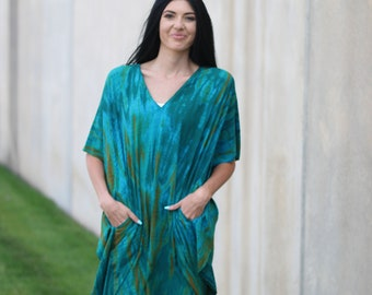 Black Organic Cotton Boho Maxi Dress in Tie dye Pattern Available in Sizes Small to 3X-Large