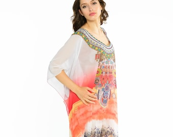 8a10ac027b Batwing sleeves ombre kaftan coverup summer fashion loose floral top caftan  for vacation