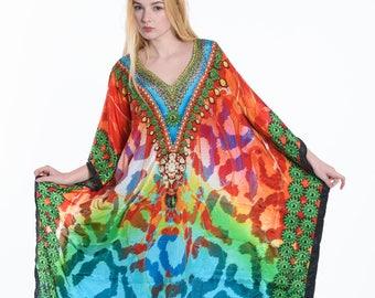 kaftan MAXI dress, faux silk caftan in red, plus size dress moroccan dress, beach kaftan free size dress for all sizes