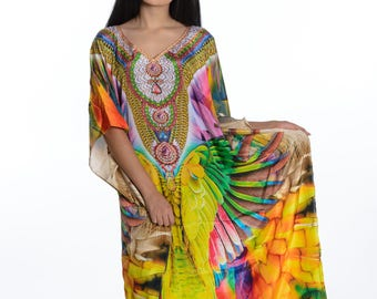 kaftan, digital print kaftan, caftan dress, plus size dress, beach kaftan dress free size dress in rainbow colors maxi caftans
