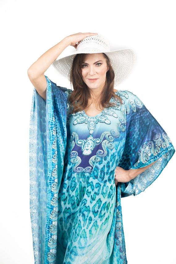 kaftan, caftan, kaftan dress, beach maxi dress, plus size clothing, long  kaftan, leopard print maxi, digital print embellished dress