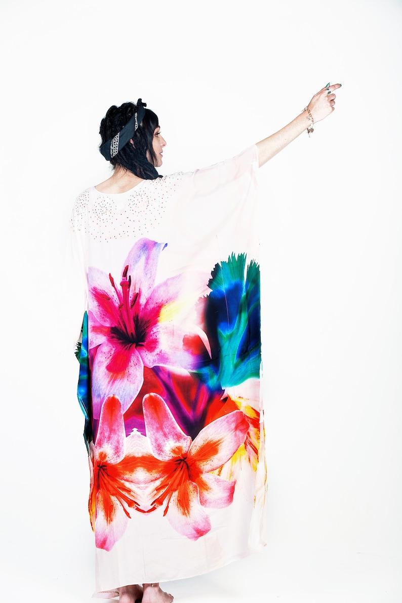 Loose Fit Dress House Clothing Plus Size Dress Loungewear Women Kaftan Oversized Dress Floral Maxi Dress Stay Home Bohemian Clothing