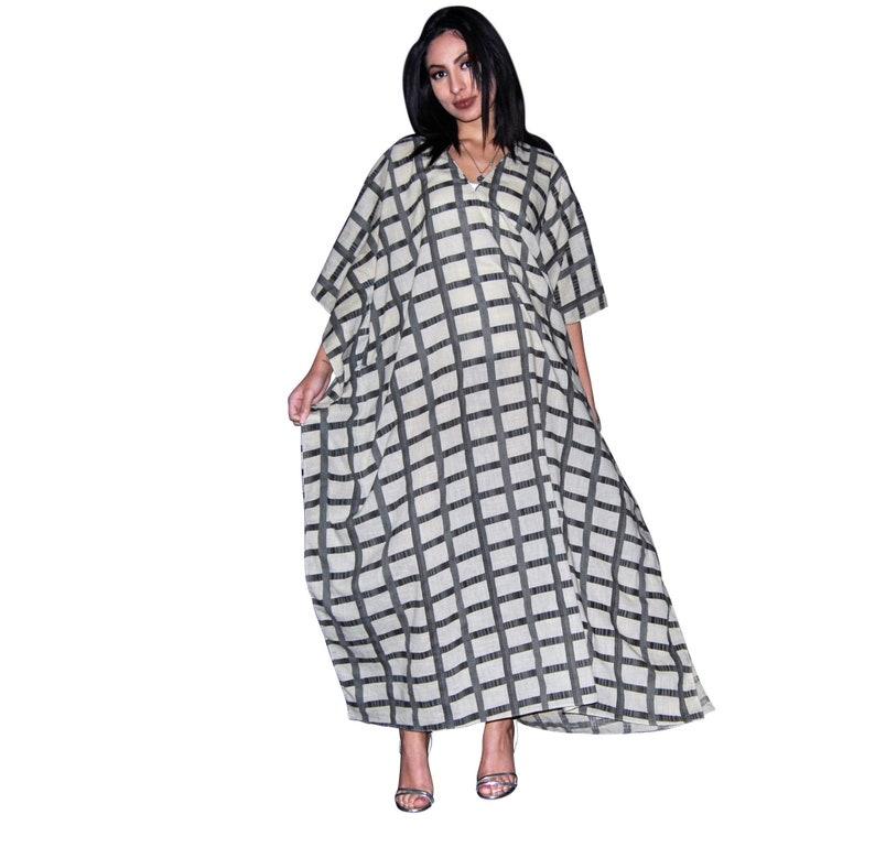 Oversized Kaftan Bohemian Clothing Comfy Maxi Dress Plus Size Clothing Cotton Kaftan Lounge Long Dress Check Dress Maternity Dress