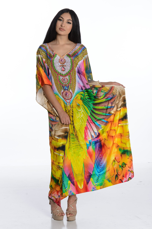 Women/'s Beautiful Short Kaftan Boho Hippy Maxi Caftan Dress Free Size