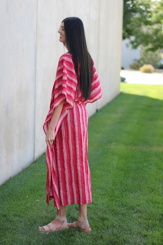 Plus Size Clothing Women Loungewear,Matching Outfit Pink Cotton Caftan Handmade Cotton Kaftan Matching Mask And Dress Caftans For Women