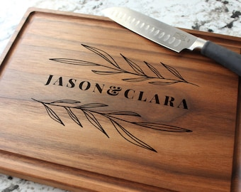 Personalized, Engraved Cutting Board with Rustic Leaf Design for Engagement or Birthday Gift #102